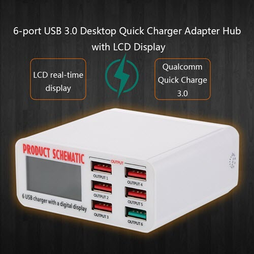 Quick Charge 3.0 6-Port 6A USB Desktop Charger
