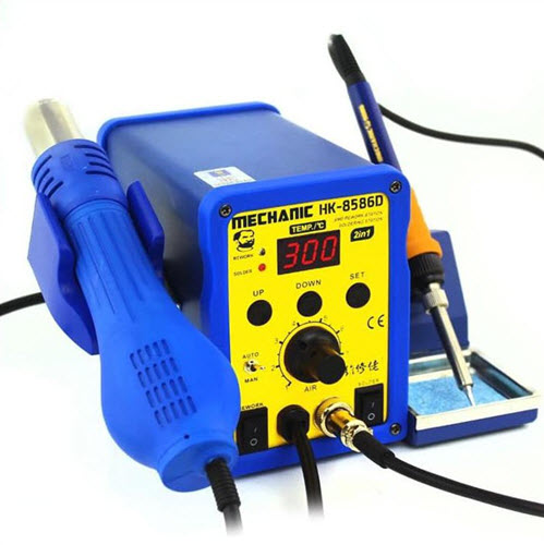 MECHANIC HK-8586D 2 in 1 SMD Soldering Iron Hot Air Rework Station